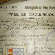 Militaria: PASE DE CIRCULACIÓN DE 1937- GUERRA CIVIL ESPAÑOLA- ASTURIAS. Lote 262965835