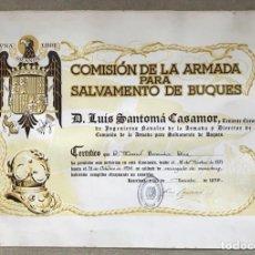 Militaria: RARO DIPLOMA COMISIÓN DE LA ARMADA PARA SALVAMENTO DE BUQUES - GUERRA CIVIL - BARCELONA, 1939. Lote 225235588