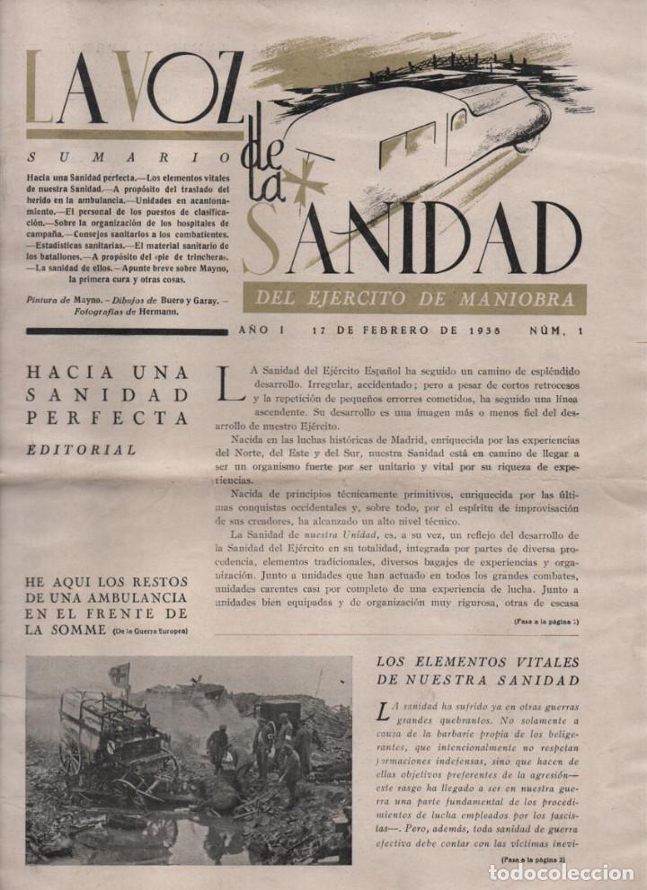 LA VOZ DE SANIDAD, REPUBLICA- DEL EJERCITO EN MANIOBRAS- AÑO I , Nº 1 - FEBRERO 1938,- 12 PAGINAS, (Militar - Guerra Civil Española)