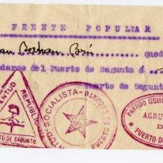 Militaria: PASE DEL FRENTE POPULAR PARA IR DEL PUERTO DE SAGUNTO A SAGUNTO EN 1936 - CUÑOS DE PSOE, UGT, CNT.... Lote 227621005