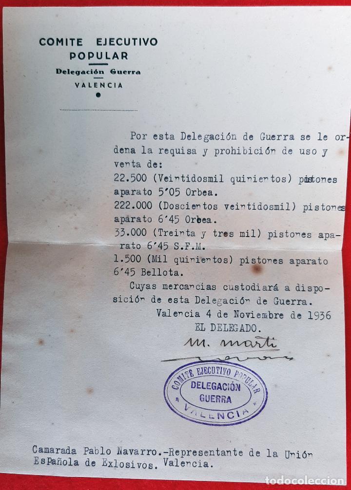Militaria: DOCUMENTOS COMITE EJECUTIVO POPULAR GUERRA CIVIL UGT CNT 1936 VALENCIA ORIGINAL D7 - Foto 3 - 228013430
