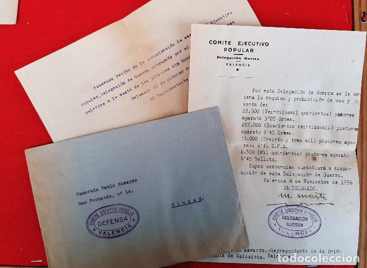 DOCUMENTOS COMITE EJECUTIVO POPULAR GUERRA CIVIL UGT CNT 1936 VALENCIA ORIGINAL D7 (Militar - Guerra Civil Española)