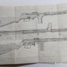 Militaria: LOTE DE 5 ANTIGUAS LÁMINAS DE DESPIECE DEL SUBFUSÍL MP 35. Lote 228677210