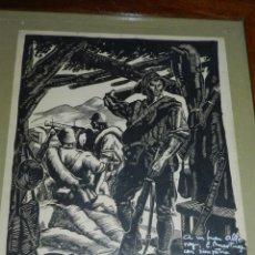 Militaria: DIBUJO ORIGINAL A PLUMILLA DE J. MUSTIELES MARZO - JUNIO DE 1938 DIBUJO ENMARCADO. Lote 229321165