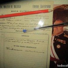 Militaria: DOCUMENTO DE GENERAL HERIDO DE VALA EN GUERRA CIVIL EN FRENTE DE ZARAGOZA 1937 PARTE MEDICO FOTO. Lote 229464650