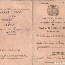 Militaria: SAN SEBASTIÁN (GUIPUZCOA) 1937 SALVOCONDUCTO DE EDUARDO FOERTSCH TRADUCTOR DE REMARQUE.VIÑETAS.. Lote 231950815