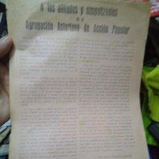 Militaria: PASQUÍN POLÍTICO 1932 JOSE MARIA FERNANDEZ LADREDA EN UN FOLIO TAMAÑO HOLANDESA 32X23CM ASTURIAS. Lote 231978985