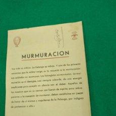 Militaria: GUERRA CIVIL. MURMURACION. FALANGE. JOSE ANTONIO PRIMO DE RIVERA.. Lote 232429500