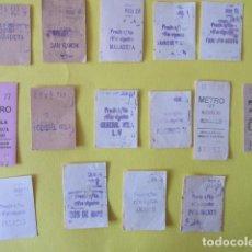 Militaria: FRANCO EPOCA 15 BILLETES METRO MADRID BARCELONA NOMBRE PARADA GUERRA CIVIL GENERAL MOLA JOSE ANTONIO. Lote 233242385