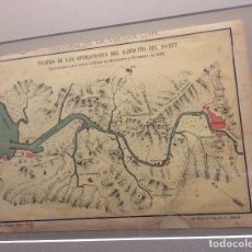 Militaria: PLANO DE LA RIA DE BILBAO EN LA 1ª GUERRA CARLISTA EN 1836 (CROMOLITOGRAFIA DEL AÑO 1890). Lote 234686555
