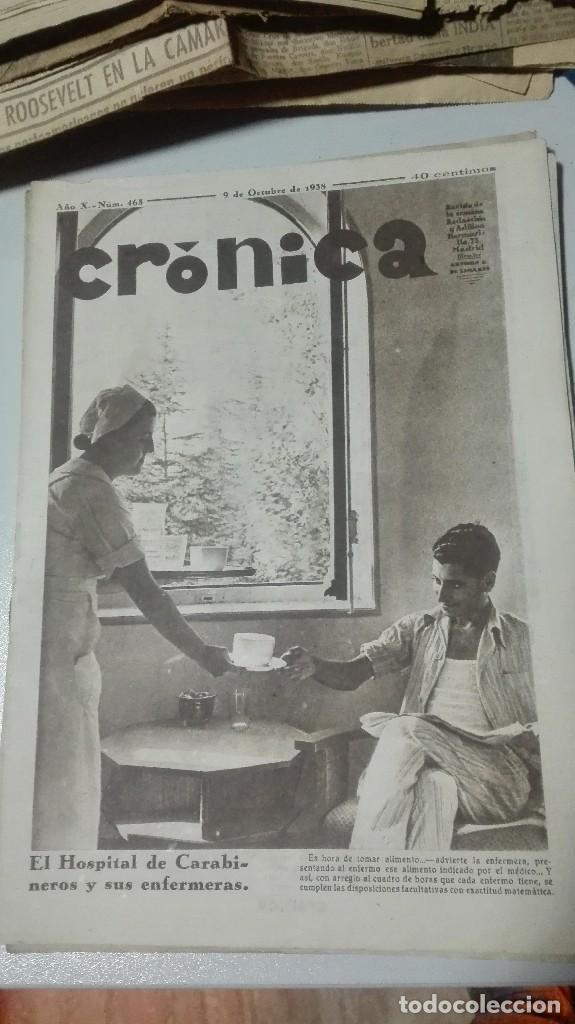 REVISTA CRONICA. EL HOSPITAL DE CARABINEROS Y SUS ENFERMERAS. 9 DE OCTUBRE DE 1938. (Militar - Guerra Civil Española)