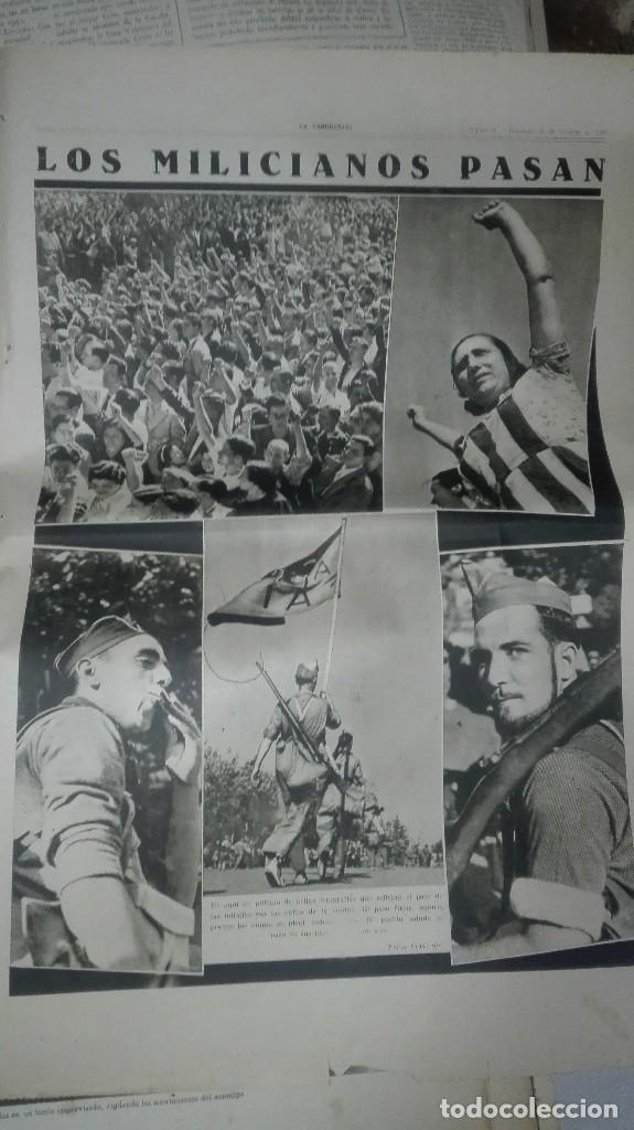 Militaria: LA VANGUARDIA. REPUBLICA. LOS MILICIANOS PASAN. NOTAS GRAFICAS. 4 PAGINAS. 25 DE OCT DE 1936. - Foto 3 - 234899270