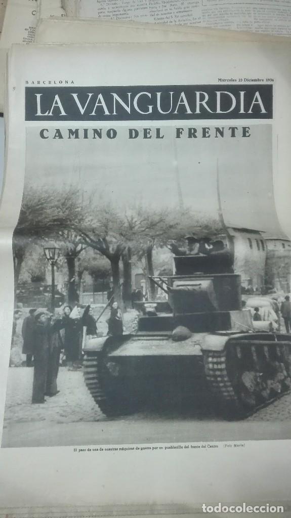 LA VANGUARDIA. REPUBLICA. EL CUERPO ANTITANQUISTAS. NOTAS GRAFICAS. 4 PAGINAS. 23 DE DICIEM DE 1936. (Militar - Guerra Civil Española)