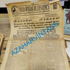 Militaria: 1938, GUERRA CIVIL, PORTADA HOJA DEL LUNES, OCUPACION DE LERIDA POR TROPAS NACIONALES. Lote 235141120