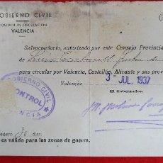 Militaria: DOCUMENTO GUERRA CIVIL SALVOCONDUCTO 1937 VALENCIA ALICANTE CASTELLON ORIGINAL D9. Lote 236129700