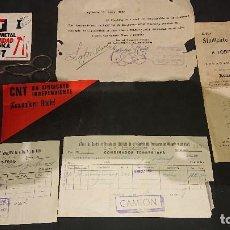 Militaria: LOTE DEL SINDICATO DE LA CNT , PEGATINAS LLAVERO TIJERAS DOCUMENTOS ETC . LEER DESCRIPCION. Lote 237167850