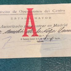 Militaria: SALVO CONDUCTO - ZONA REPUBLICANA - EJÉRCITO DE OPERACIONES DEL CENTRO - ESTADO MAYOR-. Lote 238548195