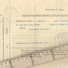 Militaria: 1936 SERVICIO DE RADIOFONEMAS FAMILIARES DE RADIO JACA EA 2 BH AL SOLDADO JUAN PEREZ. Lote 239682385
