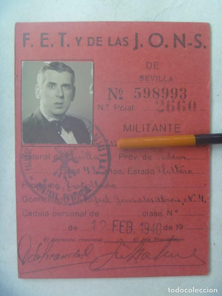 POST GUERRA CIVIL - FALANGE : CARNET PROVISIONAL DE DEPURADO FAVORABLEMENTE. SEVILLA, 1940 (Militar - Guerra Civil Española)