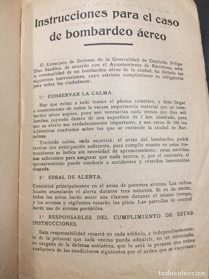 Militaria: Bombardeos, aéreos, marítimos, químicos, panfleto Guerra Civil, medios para defenserse. 23x15,5cm - Foto 6 - 148748486
