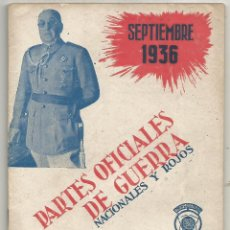 Militaria: PARTES OFICIALES DE GUERRA NACIONALES Y ROJOS Nº III SEPTIEMBRE 1936 UNION RADIO MADRID MBE. Lote 246228840