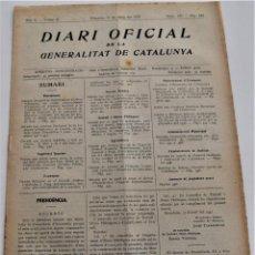Militaria: DIARI OFICIAL DE LA GENERALITAT DE CATALUNYA - 11 MAYO 1937 - OLOT, PREMIÀ DE MAR. Lote 246283240