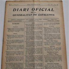 Militaria: DIARI OFICIAL DE LA GENERALITAT DE CATALUNYA - 13 MAYO 1937, L´AMETLLA DEL VALLÉS, MARITIMA DE ROSES. Lote 246285730