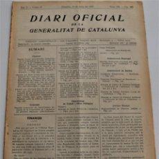 Militaria: DIARI OFICIAL DE LA GENERALITAT DE CATALUNYA - 15 MAYO 1937 - OLOT, BARCELONA. Lote 246287455