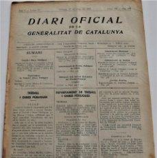 Militaria: DIARI OFICIAL DE LA GENERALITAT DE CATALUNYA - 17 MAYO 1937 - OLOT, RIBERA DE CARDÓS. Lote 246324790