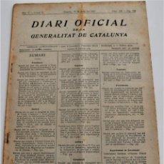 Militaria: DIARI OFICIAL DE LA GENERALITAT DE CATALUNYA - 19 MAYO 1937 - FEDERACIÓN COOPERATICAS AGRÍCOLAS. Lote 246492705