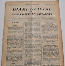 Militaria: DIARI OFICIAL DE LA GENERALITAT DE CATALUNYA - 21 MAYO 1937 - PICNORACIONES, EMPRESAS COLECTIVIZADAS. Lote 246497780