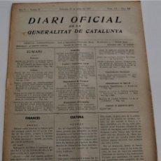 Militaria: DIARI OFICIAL DE LA GENERALITAT DE CATALUNYA - 25 MAYO 1937 - ESCUELAS DE PRIMARIA, MUSEO MARÍTIMO. Lote 246687340