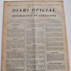 Militaria: DIARI OFICIAL GENERALITAT DE CATALUNYA - 28 MAYO 1937 DECRETO INSCRIPCIÓN EMPRESAS COLECTIVIZADAS. Lote 246692750