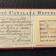 Militaria: GUERRA CIVIL CARNET ACCIÓ CATALANA REPUBLICANA 1938 CUOTA 5 PTAA. Lote 253259175