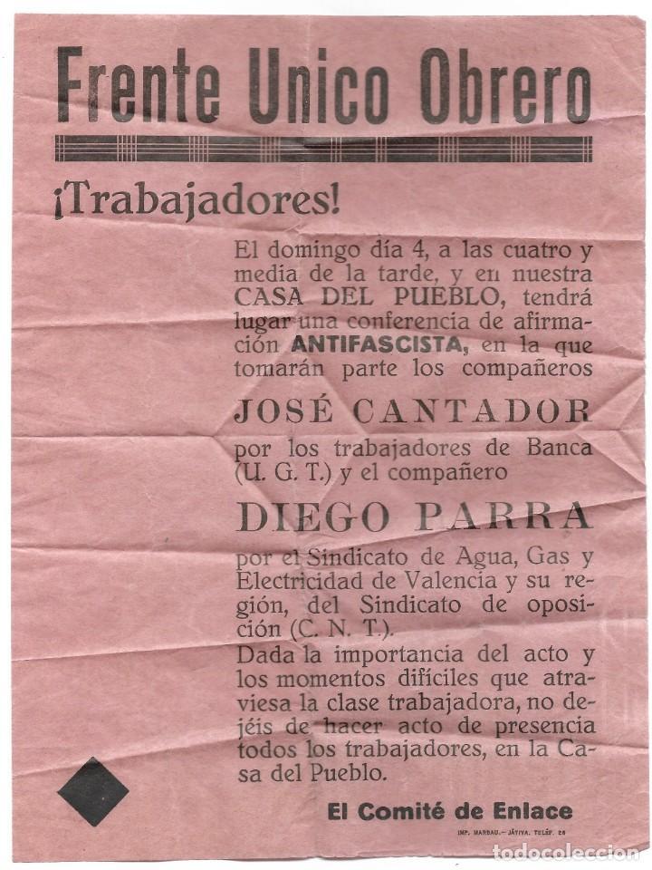 PUBLICIDAD ORIGINAL FRENTE ÚNICO OBRERO, JÁTIVA (VALENCIA) CONFERENCIA ANTIFASCISTA PRE GUERRA CIVIL (Militar - Guerra Civil Española)