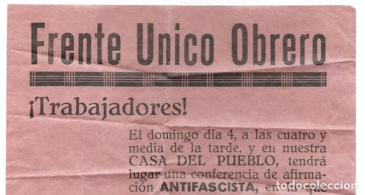 Militaria: PUBLICIDAD ORIGINAL FRENTE ÚNICO OBRERO, JÁTIVA (VALENCIA) CONFERENCIA ANTIFASCISTA PRE GUERRA CIVIL - Foto 2 - 257657725