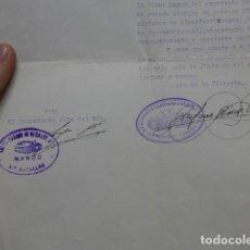 Militaria: ANTIGUA CONCESION CON 2 SELLOS DE TANQUISTA DE GUERRA CIVIL, HUESCA Y TERUEL. CARROS DE COMBATE.. Lote 260774145
