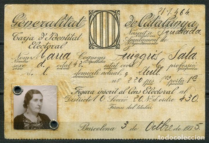 GENERALITAT DE CATALUNYA - TARJA DE IDENTITAT ELECTORAL 1935 (Militar - Guerra Civil Española)