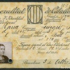 Militaria: GENERALITAT DE CATALUNYA - TARJA DE IDENTITAT ELECTORAL 1935. Lote 262002095