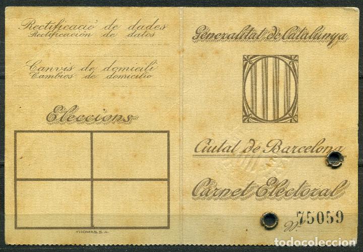 Militaria: GENERALITAT DE CATALUNYA - TARJA DE IDENTITAT ELECTORAL 1935 - Foto 2 - 262002095