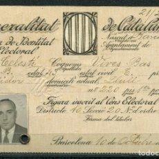 Militaria: GENERALITAT DE CATALUNYA - TARJA DE IDENTITAT ELECTORAL 1935. Lote 262002250
