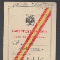 Militaria: VEJER FRONTERA--CADIZ-- CARNET AGENTE COMERCIAL- VER FOTO. Lote 263180210