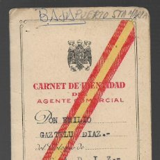 Militaria: PUERTO SANTA MARIA--CADIZ-- CARNET AGENTE COMERCIAL- VER FOTO. Lote 263181605