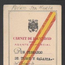 Militaria: PUERTO SANTA MARIA--CADIZ-- CARNET AGENTE COMERCIAL- FERNANDO DE TERRY Y GALARZA- VER FOTO. Lote 263181965
