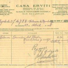 Militaria: GUERRA CIVIL 29-4-1938. FACTURA CASA ERVITI A DELEGADO O.J. DE FET DE VALENCIA DE MOMBUEY.. Lote 266943919