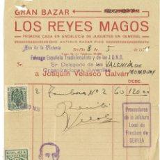 Militaria: GUERRA CIVIL 8-5-1939. FACTURA GRAN BAZAR LOS REYES MAGOS FET Y DE LAS JONS DE VALENCIA DE MOMBUEY. Lote 266944059