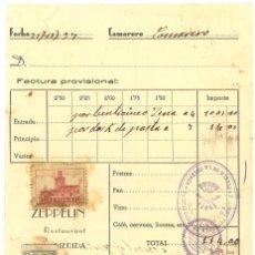 Militaria: GUERRA CIVIL 21-11-1937. FACTURA RESTAURANTE ZEPPELIN DE MÉRIDA A FET Y JONS DE PUEBLA DE CALZADA. Lote 267067839