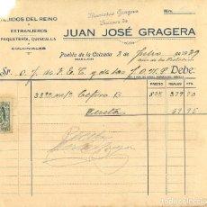 Militaria: GUERRA CIVIL 8-7-1939. FACTURA JUAN JOSÉ GRAGERA A FET Y DE LAS JONS DE PUEBLA DE LA CALZADA. Lote 267067919