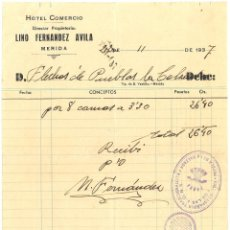 Militaria: GUERRA CIVIL 22-11-1937. FACTURA HOTEL COMERCIO DE MÉRIDA A FLECHAS DE PUEBLA DE LA CALZADA. Lote 267067979