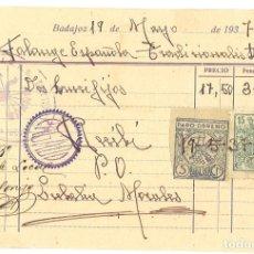 Militaria: GUERRA CIVIL 19-5-1937. FACTURA DE JUAN MORALES A FALANGE ESPAÑOLA TRADICIONALISTA DE BADAJOZ. Lote 267068254